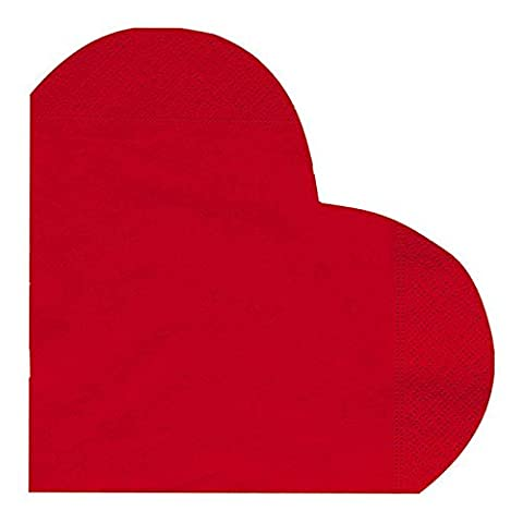 Pack of 12 Red Heart Shaped 33cm 3 Ply Paper Napkins Disposable Tableware