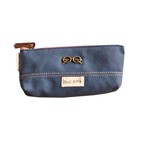 Brass Glass Canvas Cosmetic Pen Pencil Bag Case(18*8 CM, Blue)