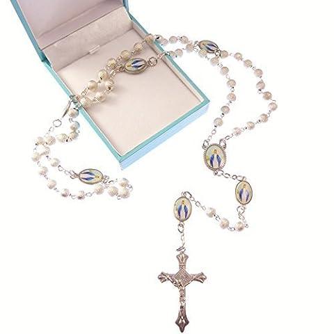 Silber Wundertätige Rosenkranz katholischen Geschenk + Geschenk Box katholische unsere Frau paters