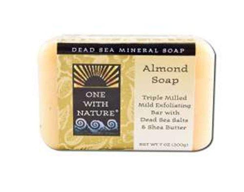 One With Nature Pain de savon hydratant à base d'amande - Avec sels minéraux de la Mer morte et beurre de karité - 200 g