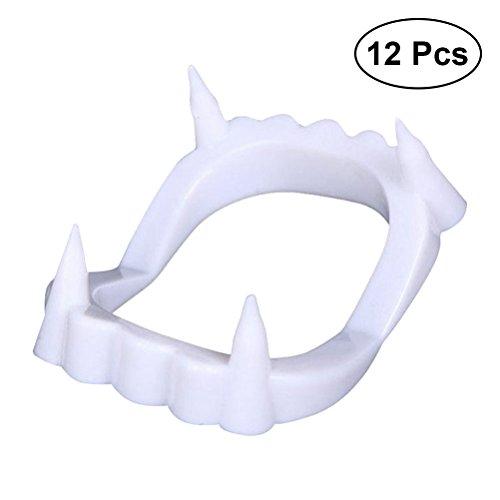 BESTOYARD 12 Stücke Weiß Sharp Vampire Zähne Kappen Werwolf Zähne Für Halloween Prop Kostüm