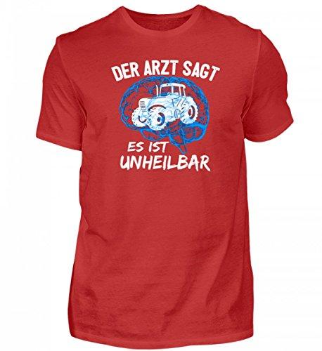 Shirtee Hochwertiges Herren Premiumshirt - Landwirtschaft: Traktor Unheilbar Blau · Geschenk für Landwirte und Traktor-Fans