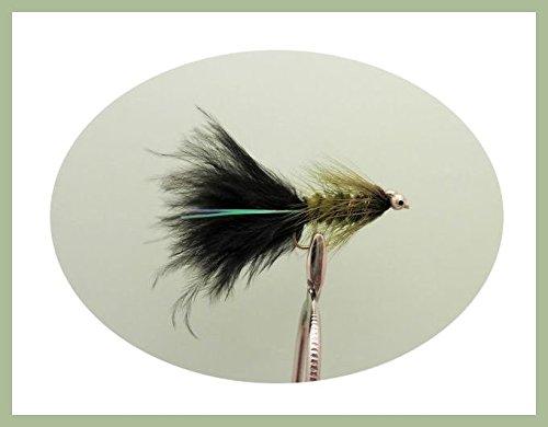 Riesige Forellenfliegen, Größe 10 Kunstköder, für Fliegenfischen, Schwarz & Olive, 6er-Pack