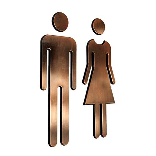 TOOGOO ein Paar M?Nner Frauen Wc TüR Schild Hotel Einkaufs Zentrum Wc TüR Schild TüR Zubeh?R Kupfer