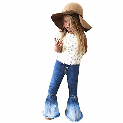 Feixiang Ropa para niñas niños Pantalones Vaqueros de Moda Costuras de Campana...