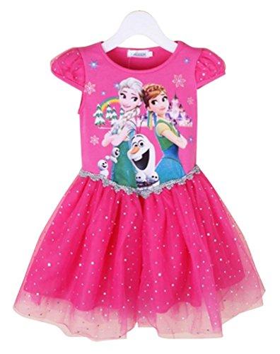 Niñas Disfraz De Princesa Elsa Y Anna Impresión Vestidos Manga Corta 120CM