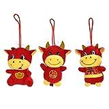 NUOBESTY 3 Stks Chinese Nieuwjaar Zodiac Dier 2021 Jaar Van Ox Zachte Knuffel Lucky Cow Chinese Zodiac Koe Mascotte Pop Nieuwe Jaar Gift