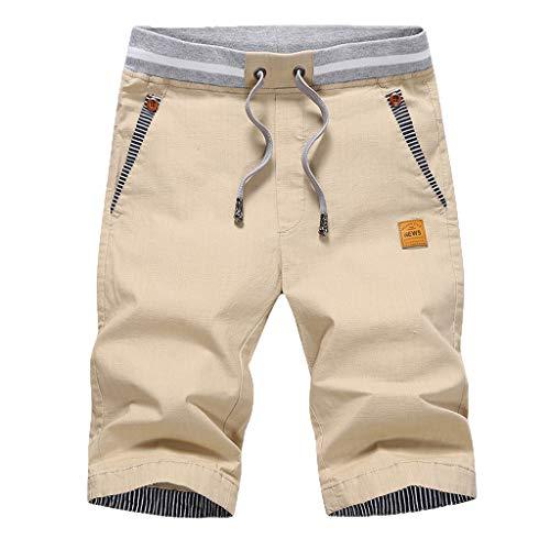 Herren Sweatshorts/Skxinn Männer Sommer Sweat Short Baumwolle Kurze Hose JogginghoseSweatpant Sport Shorts Kordelzug Regular Fit M-4XL Ausverkauf(Khaki,Large)