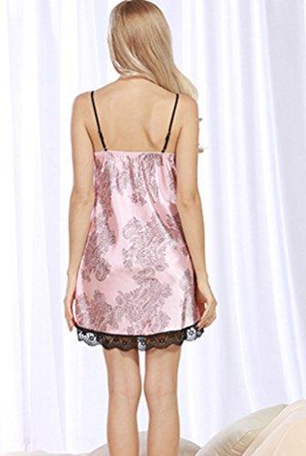 WanYang Femme Peignoir Satin Robe Vêtement De Nuit Chemise De Nuit Imitant Pyjama Dentelle Col V Rose