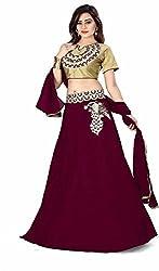 Fabcartz Embroidered Silk Lehenga Choli Dupatta Set (FabC_1_Maroon_Free Size)