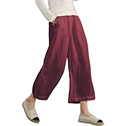 Minetom Pantalon Large à Jambes et Fluides pour Femmes 3/4 Long Jupe-Pant Palazzo Bourgogne EU Medium