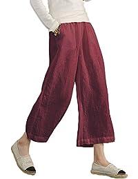 Minetom Pantalon Large à jambes et Fluides pour Femmes Confortable  Elastiqué Grande Taille 3 4 1f3f09aec5b