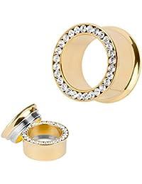 Taffstyle® Titan Flesh Schraub Tunnel Gold Farben Kristall Clear