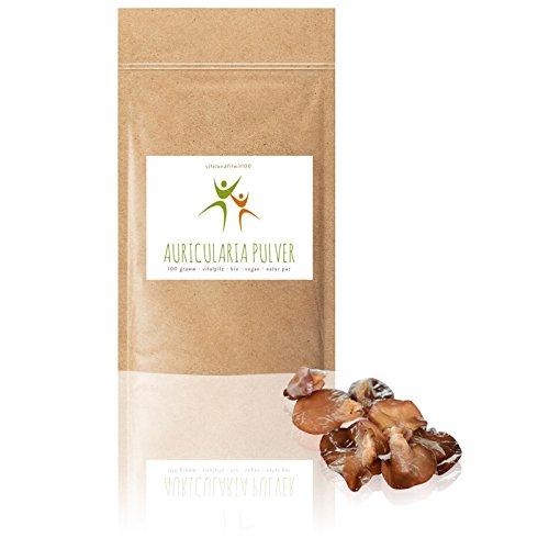 Bio Auricularia Pulver | 100 g | Auricularia judae | Judasohr | 100% BIO, VEGAN, PUR | Rohkostqualität | OHNE Hilfs- u. Zusatzstoffe