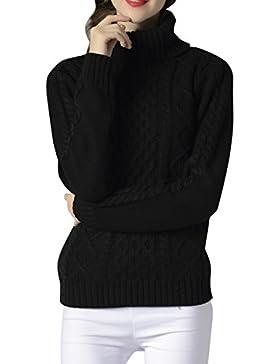 ELLAZHU Moda mujer Turndown Clooar mangas largas costillas Top suéter YY54 Negro M