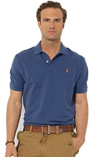 Ralph Lauren Herren Classic Fit Kurzarm Polos (Blau, XXL) - Lauren Ralph Classic-fit Shirt,