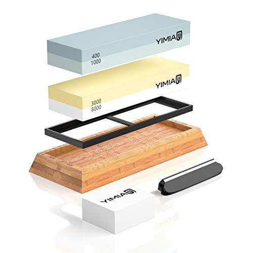 Abziehstein Schleifstein Set, YIMIA 2-in-1 Wetzstein mit 400/1000 3000/8000 Körnung, Abziehstein für Messer inkl. Gummi-Steinhalter sowie Bambus Basis und Messer-Halter und Läppstein