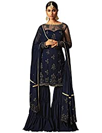 Like A Diva Floral Embroidered Sharara Suit In Navy Blue Net Georgette For Women