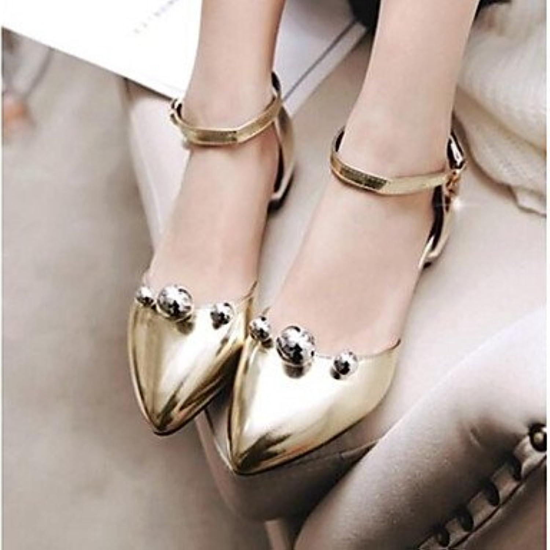 Las mujeres 039 s sandalias verano PU Confort confort informal rubor rosa Plata Oro bajo 1UE38 UK5.5 inGoldUS7.5...