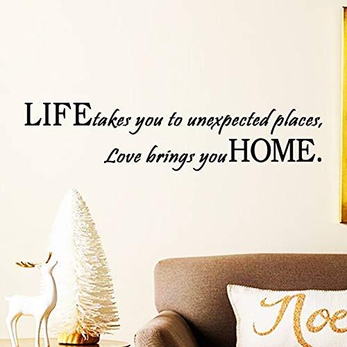 Kunst neues Design Heimtextilien Liebe bringen Sie nach Hause Wandaufkleber abnehmbare billige Haus Dekor kreative Worte Charakter Abziehbilder 13X58cm (Dekor Worten Hause)