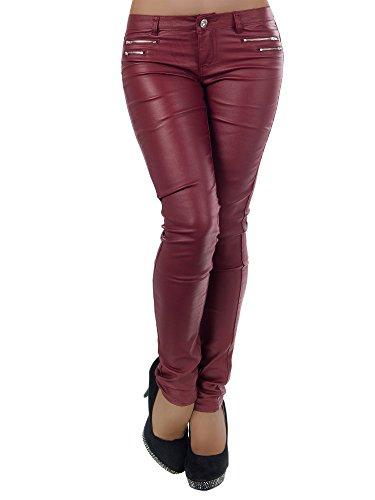 L521 Damen Jeans Hose Hüfthose Damenjeans Hüftjeans Röhrenjeans Leder-Optik, Farben:Bordeaux;Größen:36 (S)
