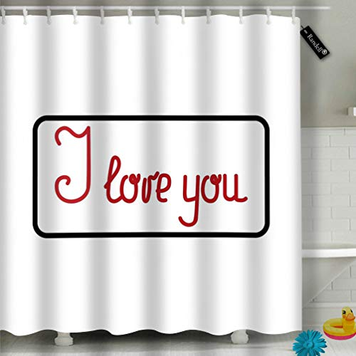 Randell Bathroom Shower Curtain Quote I Love You Fashion Waterproof Fabric Shower Curtain 60(W) X 72(L) Inches For Men Women Kids