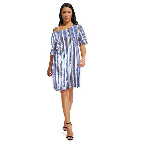 HHFF Kleid Frauen Multi-Color Pailletten Kurzarm Kleid (Ganelli) Sexy Schritt Rock Rundhals Kleid - Pailletten Multi Color Print-rock