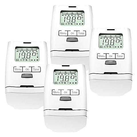 4 Stück Premium Elektronischer Heizkörperthermostat Thermostat Thermostatventil HT 2000 Made in Germany