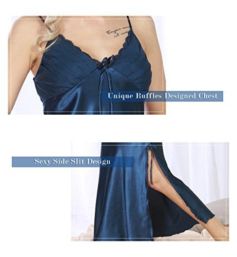Surenow Nuisette Robe de chambre Chemise de Nuit Longue Lingerie Sling en Satin Sexy Uni Eté Pour Femme Bleu