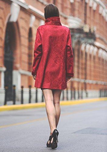 Adelaqueen Großartiger Kunstwildleder Faux Fur Damenmantel mit Blumenmutster Umkehrbarer Mantel Rot