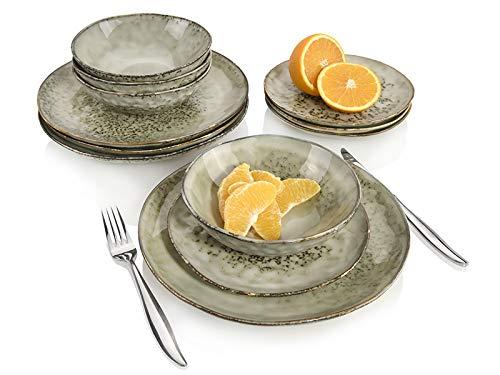 Sänger Dinner Service Pompei aus Porzellan 12 teilig für 4 Personen | Füllmenge der Schalen 700 ml | Tellerset im Vintage-Stil Grau Braun, Geschirrset, Porzellanservice