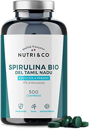 Spirulina Biologica   500 Compresse Bio da 500 mg Pure Senza Eccipienti   15 a 19% di Ficocianina   Polvere Essiccata e Compressa a Freddo   Analizzata e Confezionata in Francia da Nutri&Co