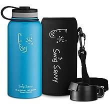 SWIG SAVVY Botella de Agua de Acero Inoxidable Aislado, Capacidad de Boca Ancha, Para Bebidas Frías y Calientes, Incluye Funda y Tapa de Café 32 onzas Azul