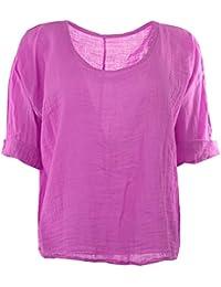 Frauen Italian Quirky Lagenlook Plain Linen bequeme beiläufige Damen Bluse Crop Top Mollige