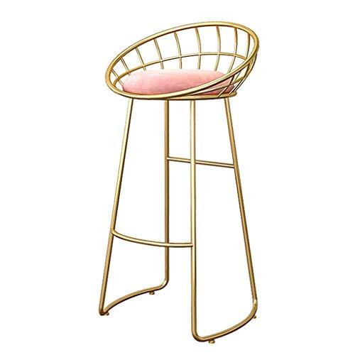 Barhocker Goldener Hocker mit Rückenlehne Frühstücksstuhl als Küchen- / Bar-Sitz Rosa Samtkissen | Laden Sie bis zu 150 kg Küche | Bar | Bar (Höhe: 45/65 / 75cm)