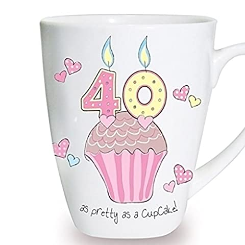 Cupcake Mug Keepsake Novelty Cup Present Gift Coffee Tea 40th Birthday