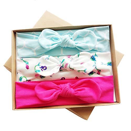 Gespout 3 Stück Baby Stirnbänder Elastisches Süßes Muster Mädchen Kids Turban Haarband Stirnband Kopfband Baby Schmuck Babyschmuck für Kinder Babys Zubehör Festival Taufe