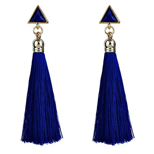 VJGOAL Damen Ohrringe, 1 Paar Frau Geschenk Valentinstag Frauen Mädchen Böhmischen Ethnischen Hängenden Seil Quaste Party Strand Ohrringe (Blau)