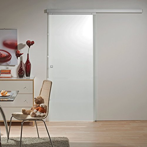 Schiebetür Glas-Schiebetür Zimmertür 880x2035mm Innentür Komplettset mit Laufschiene & Glastür (vollflächig satiniert + Quadratgriff)