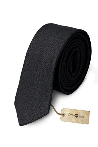 Preisvergleich Produktbild schmale schwarze Krawatte für Herren - 100% Premium Leinen - original little butler ®