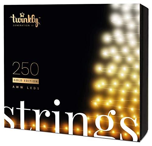 Twinkly Smart Lichterkette LED-Weihnachtsbeleuchtung Goldausgabe - App-gesteuerte Büschellichter mit 250 AWW LED-Lichtern - IoT-fähige Beleuchtung - Erstellen oder Herunterladen von Lichtanzeigen