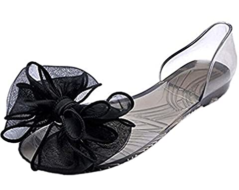 Mineroad Womens Ladies Summer Breathable Beach Shoes Jelly Crystal Bowknot