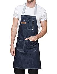 Feoya Unisex Delantal Denim con Bolsillos Mandil Mandil para Camareros  Trabajo Restaurante Cafetería 76   62cm 4f81bee5a21