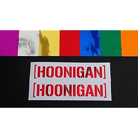 Hoonigan Pair Ken Block Hooning Chrome 7 Colours Vinyl Die Cut Car Van Window Bumper Funny Stickers Decals Red Chrome 150mm x