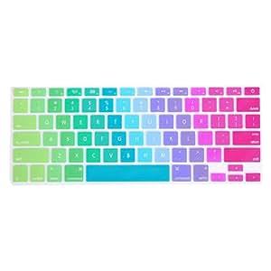 BestCool Tastaturschutz Silikon Englisch QWERTY Tastenschutz für MacBook Pro 13'' Kratzschutz Bunt Tastatur Tastaturbelegung Schutz Abdeckung Keyboard Cover Silicone Skin