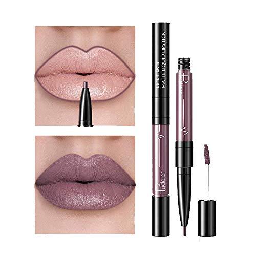 Rouge à Lèvres Liquide Brillant Crayon 16 Couleurs pour Crayons à Lèvres Imperméable et DeImperméable Durable Gloss Lip Liner Cosmétiques (A)