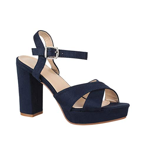 Elara Damen Pumps | Bequeme Peep-Toe Pumps | Trendige Plateau High Heels | Chunkyrayan YL96094 Navy-39 - Navy Frauen Schuhe