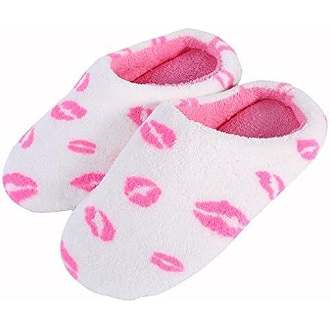 Kasit unisex calientes del invierno suave antideslizante zapatillas de algodón de la sandalia casa casero zapatos antideslizantes - labios rojos