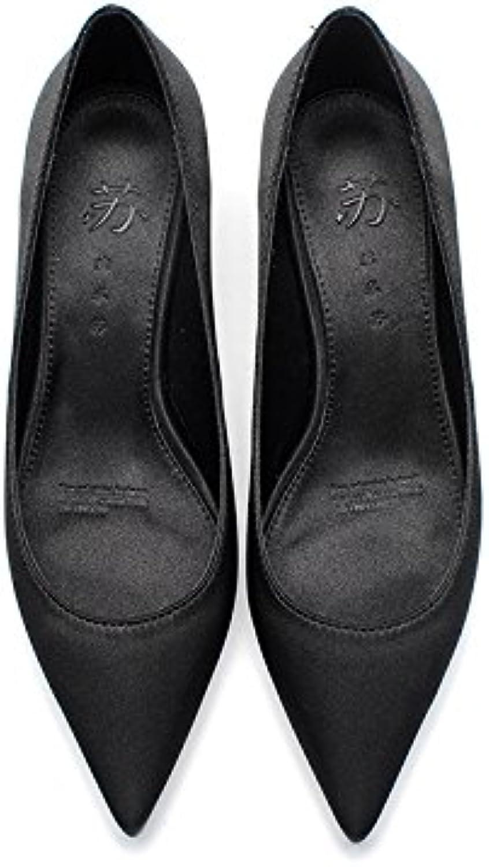 GAOLIM Kleine Frauen mit 3 cm Damen-Schuhe Schuhe mit Schuhe mit Spitze blau mit Herbst high-heeled für denö