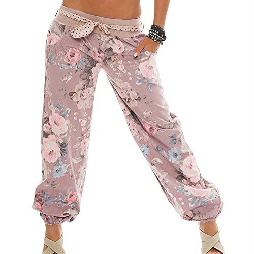 WOZOW Yoga Hosen Damen Boho Blumenmuster Floral Flowers Print Druck Hippie Loose Lose Lang Long Casual Low Waist Riemchen Aladdin Indian Übergröße Plus Size Trousers Stoffhose (S,Blasses) -